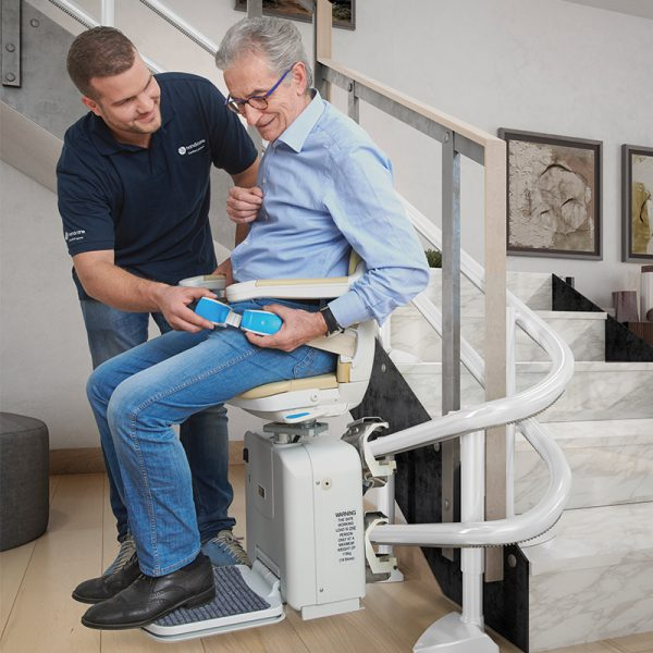 2000 curved stairlift retractable seat belt handicare
