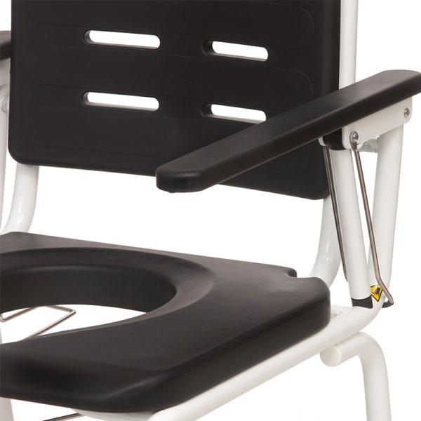 combi commode shower chair armrest lock handicare