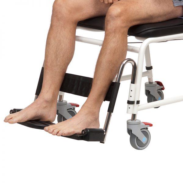 combi commode shower chair footrests heel calf strap handicare 2