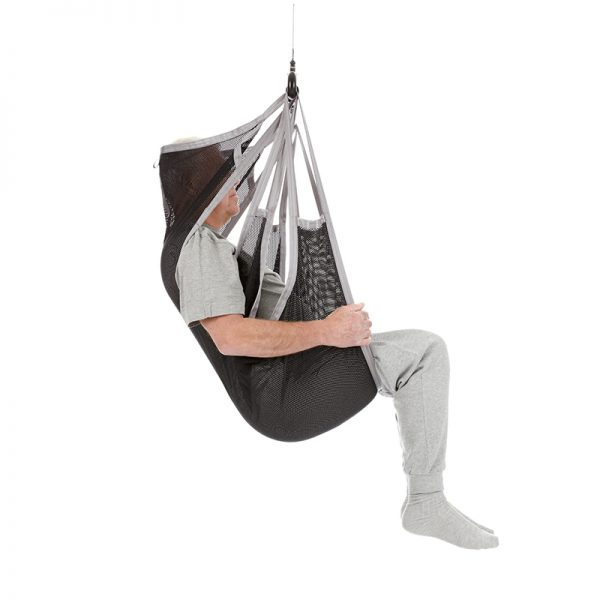 flexible sling undivided legs polyester net side view handicare