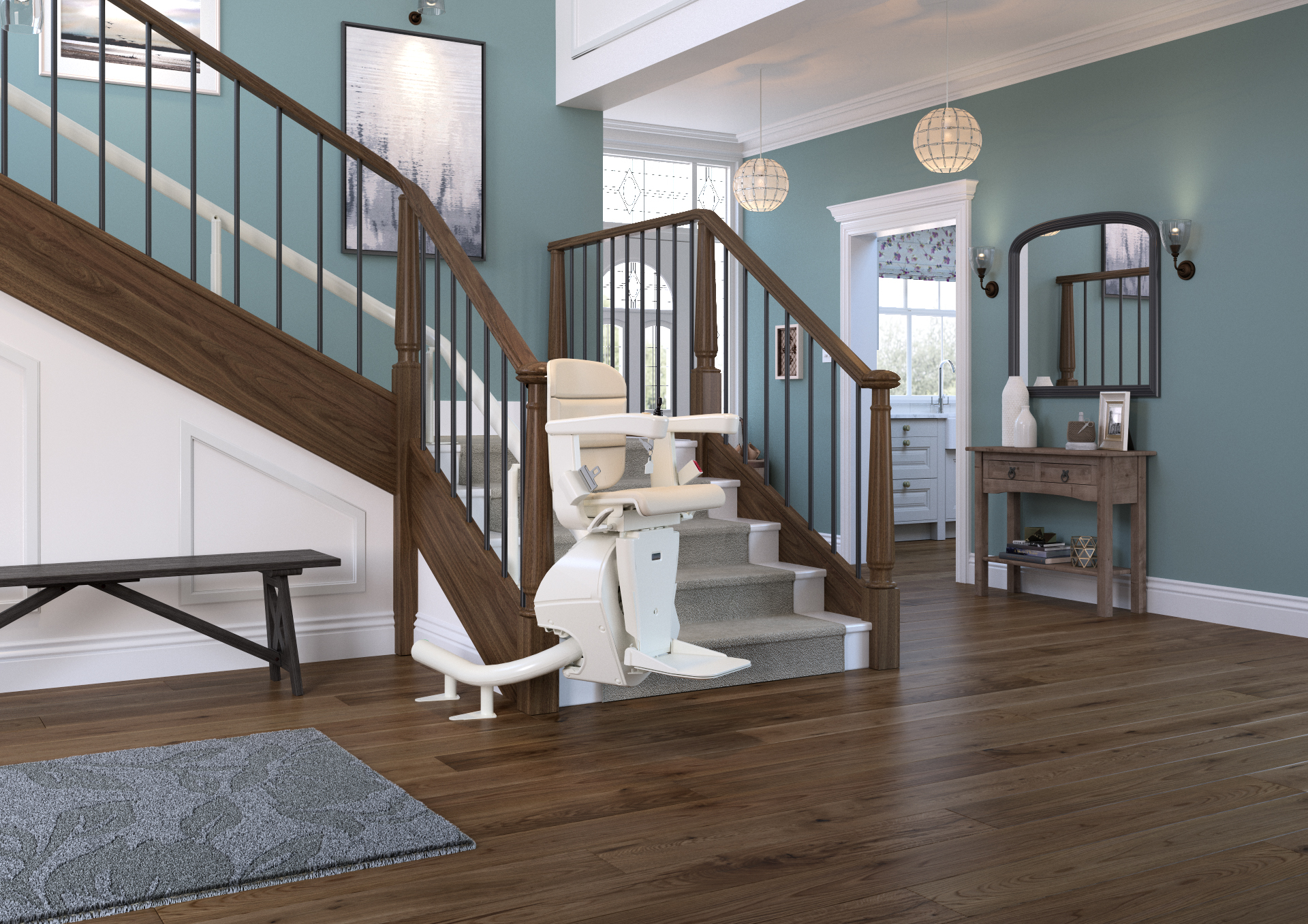 freecurve curved stairlift hallway parked handicare