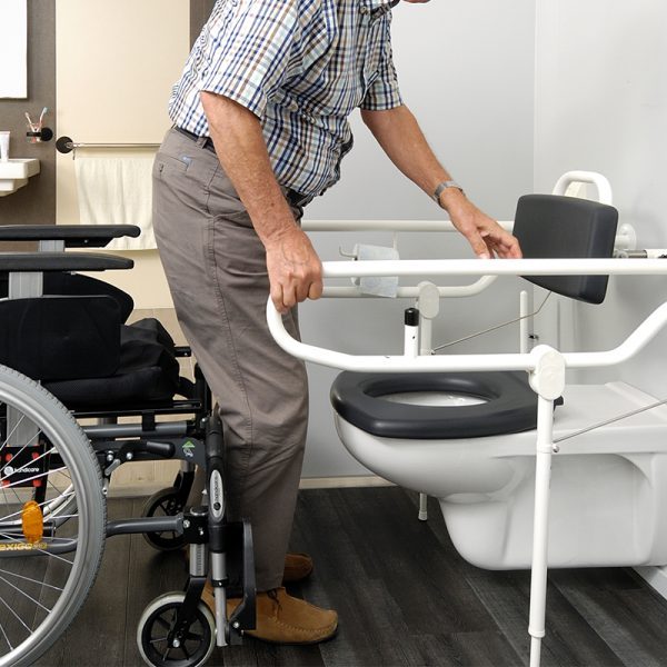 hinged arm support floor supports in use handicare