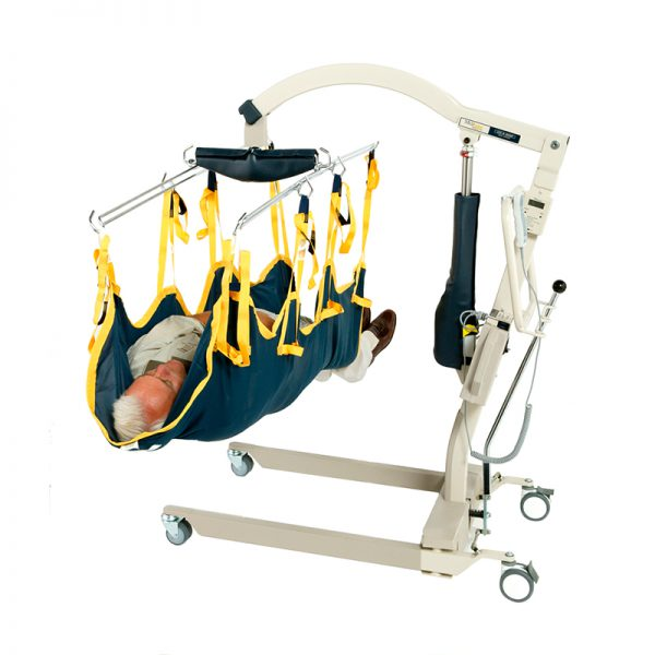 medcare care lift in use stretcher sling handicare