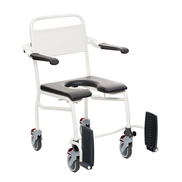 mobile commode shower chair caregiver operated foldable footrests handicare