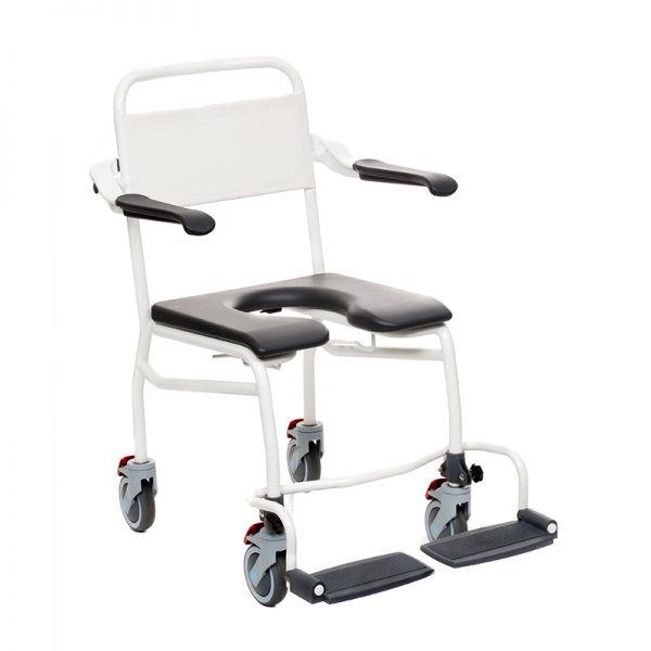 mobile commode shower chair caregiver operated handicare