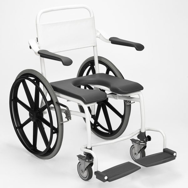mobile commode shower chair user operated handicare