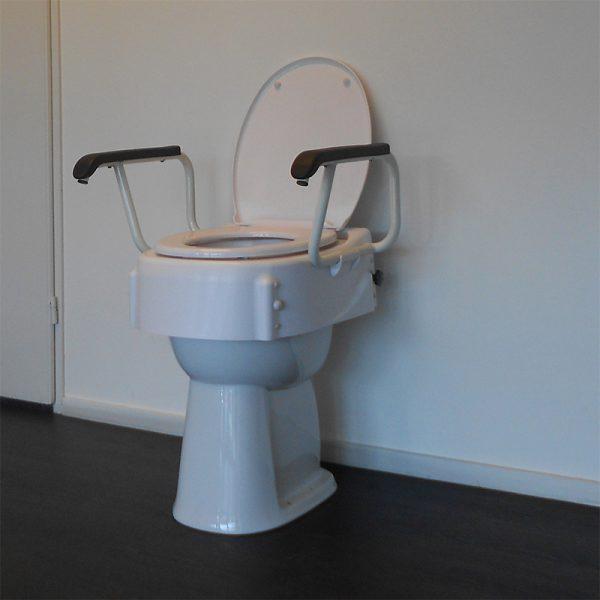 toilet raiser lid armrests in use handicare