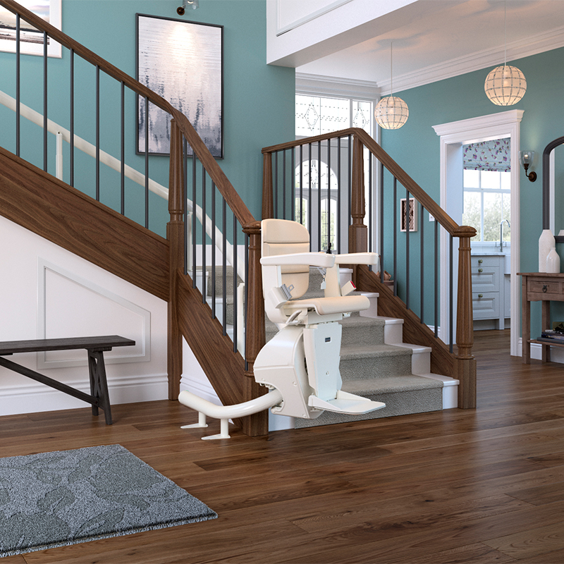 freecurve stair lift elegance seat cream installed handicare